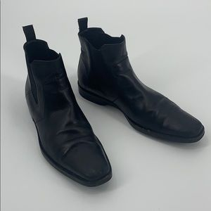 💯 Hugo Boss Black Leather Chelsea Boots (10m)